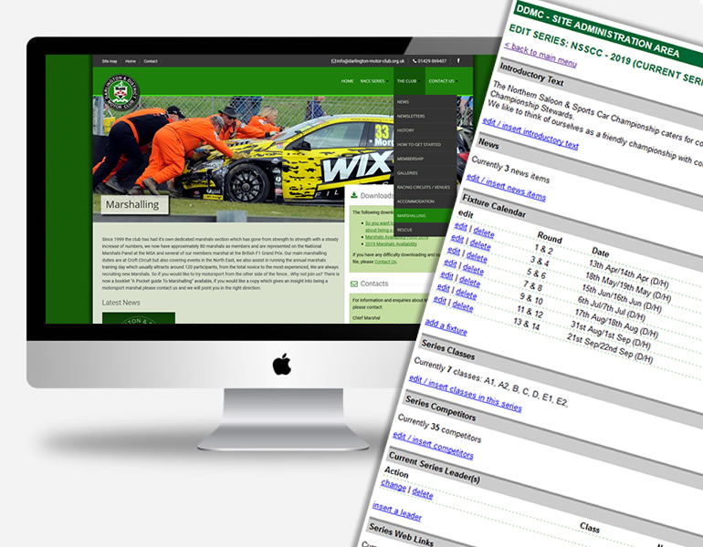 Darlington and District Motor Club Website with bespoke content management system